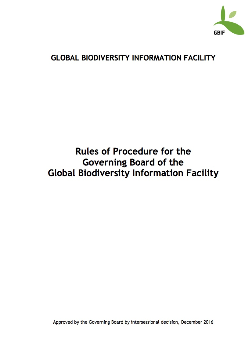 Rules of Procedure of the GBIF Governing Board