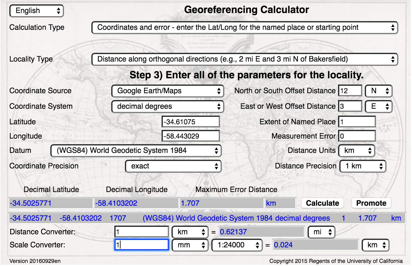 Georeferencing Calculator