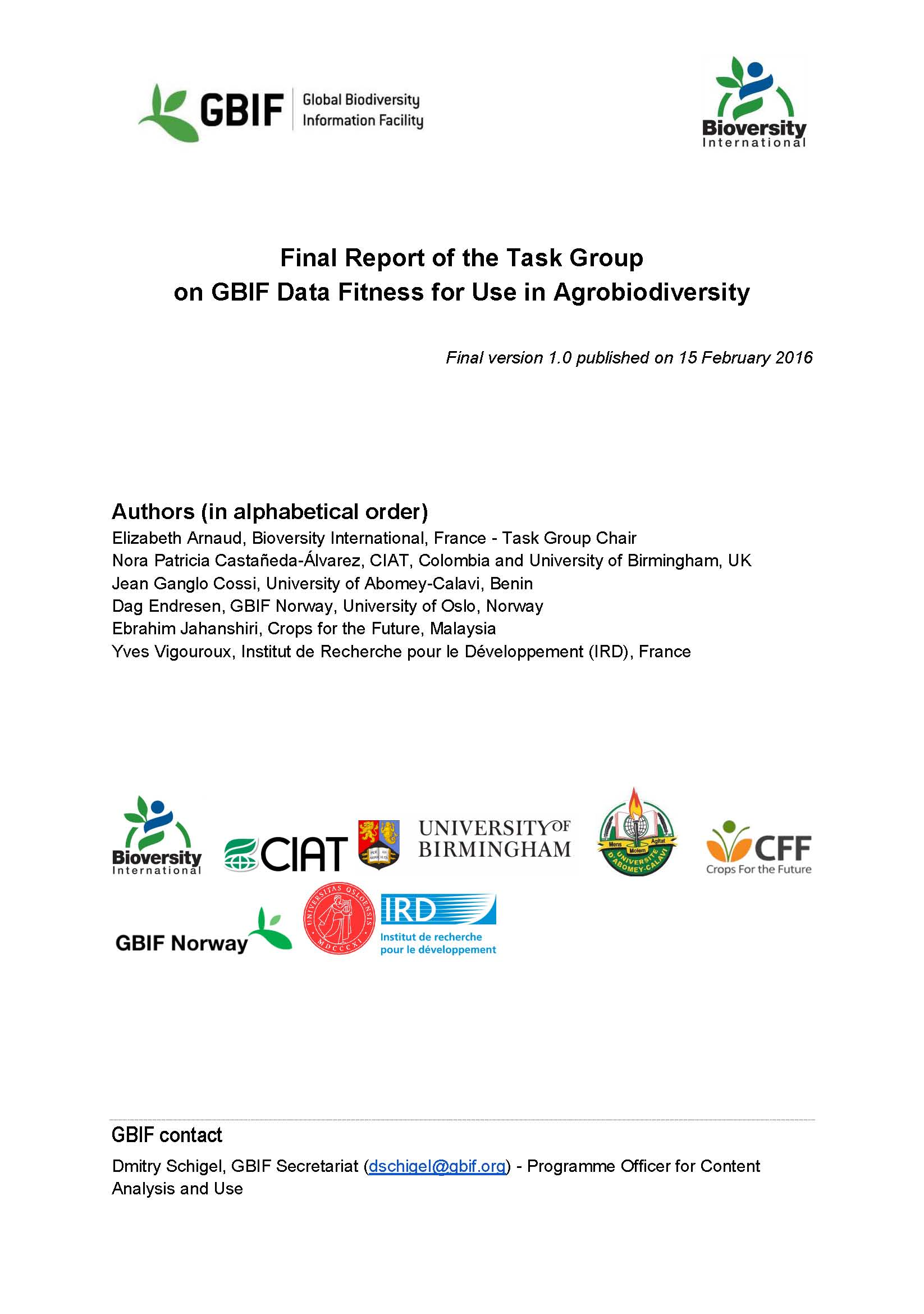 Report of the Task Group on GBIF Data Fitness for Use in Agrobiodiversity