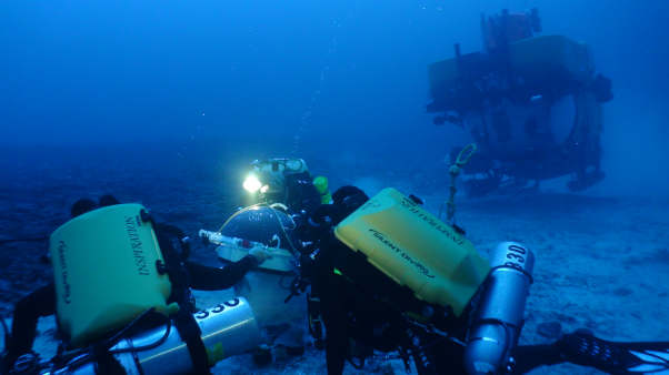 Research divers place a dome over a set of corals 89 m deep as part of an experiment to determine coral feeding patterns