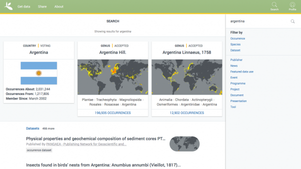 Site-wide search result in next version of GBIF.org currently in development